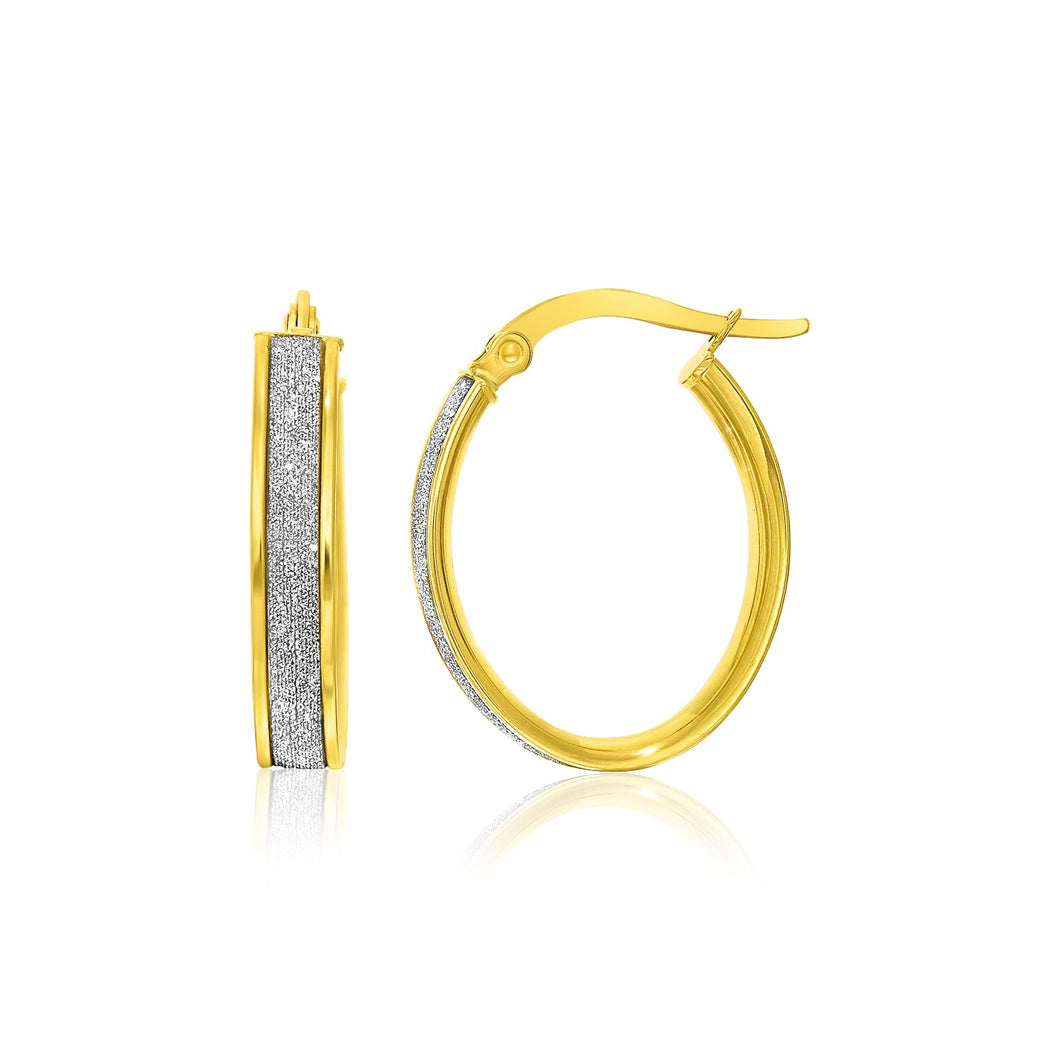 14k Two-Tone Gold Glitter Center Oval Hoop Earrings