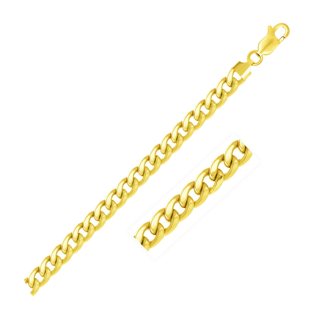 6.5mm 10k Yellow Gold Light Miami Cuban Chain