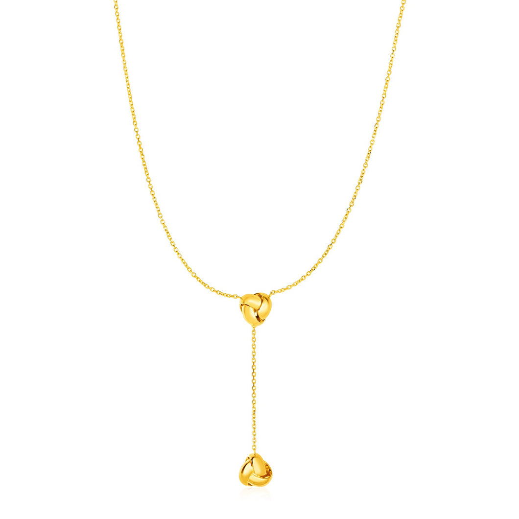 Lariat Necklace with Two Love Knots in 14k Yellow Gold