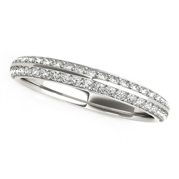 14k White Gold Two-Row Pave Set Diamond Wedding Band (1/4 cttw)