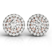 Load image into Gallery viewer, 14k White and Rose Gold Round Halo Diamond Earrings (3/4 cttw)