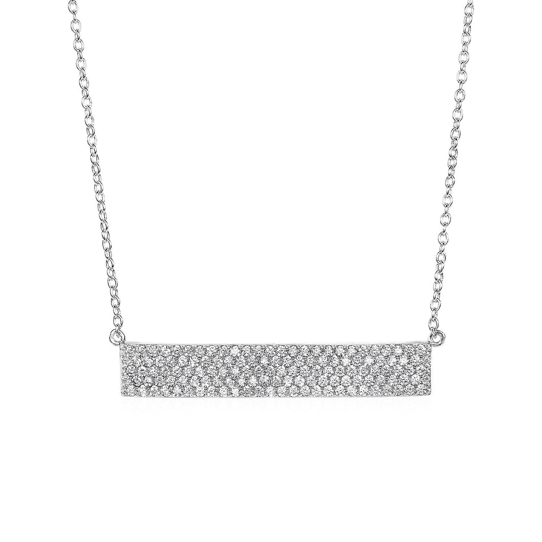 Wide Bar Necklace with Cubic Zirconia in Sterling Silver
