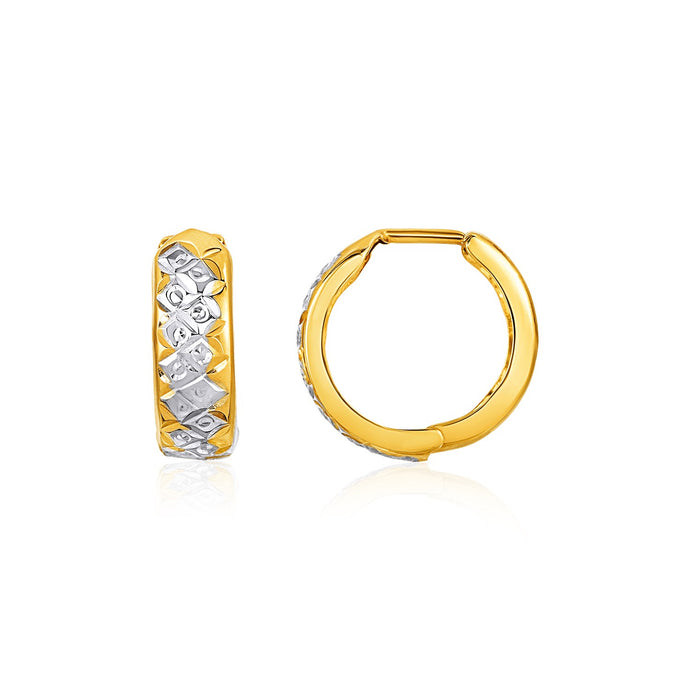 Two-Tone Reversible Textured Snuggable Earrings in 10k Yellow and White Gold