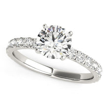 Load image into Gallery viewer, 14k White Gold Single Row Shank Round Diamond Engagement Ring (1 1/3 cttw)