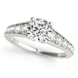 14k White Gold Antique Tapered Shank Diamond Engagement Ring (1 3/8 cttw)