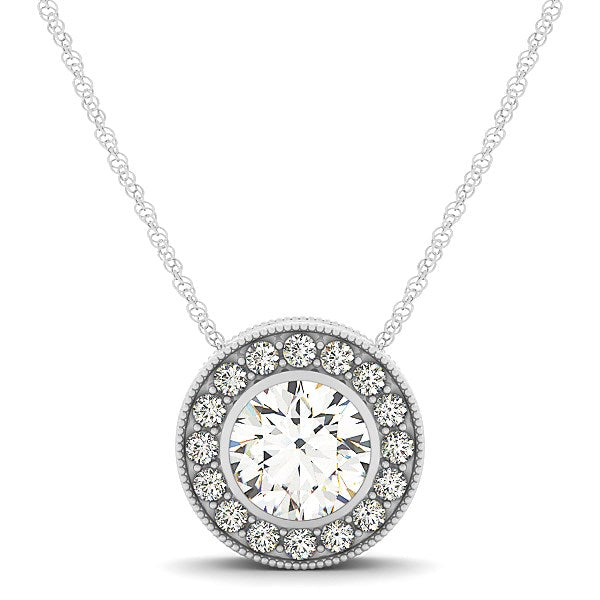 Diamond Halo with Center Bezel in 14k White Gold (5/8 cttw)