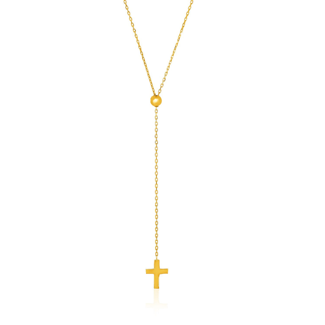 14k Yellow Gold Adjustable Cable Chain Necklace with Cross