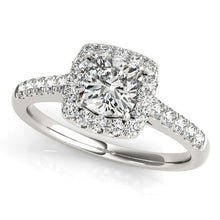 Load image into Gallery viewer, 14k White Gold Square Outer Shape Round Diamond Engagement Ring (3/4 cttw)