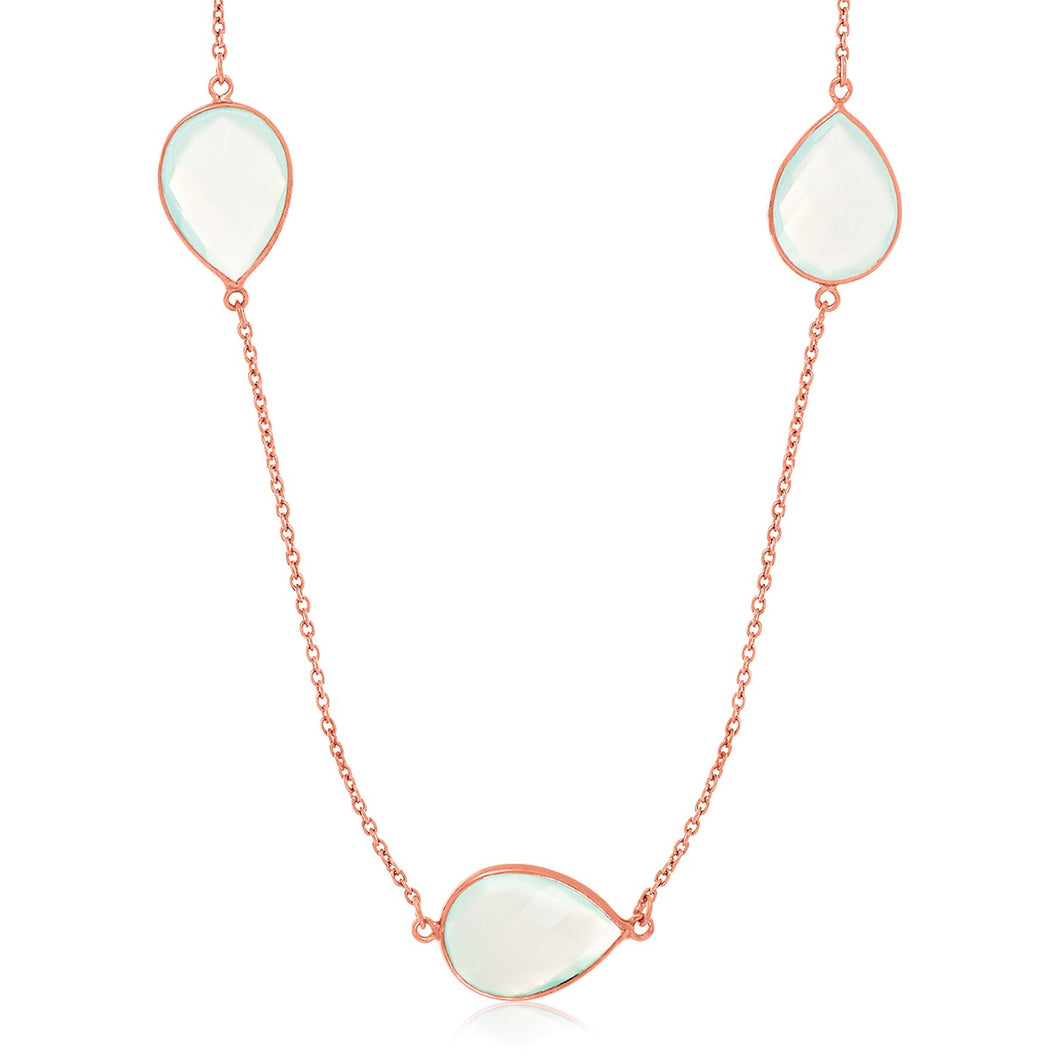 Sterling Silver Rose Gold Plated Teardrop Station Necklace with Aqua Chalcedony