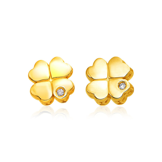 14k Yellow Gold Polished Four Leaf Clover Earrings with Diamonds