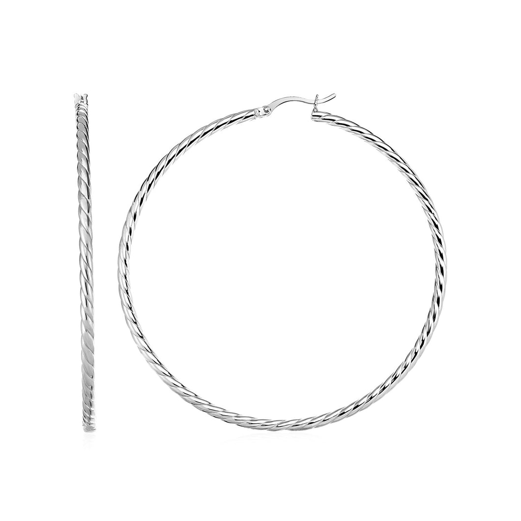 Hoop Earrings with Twist Texture in Sterling Silver