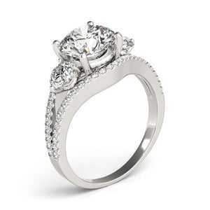 14k White Gold 3 Stone Split Pave Shank Diamond Engagement Ring (2 3/4 cttw)