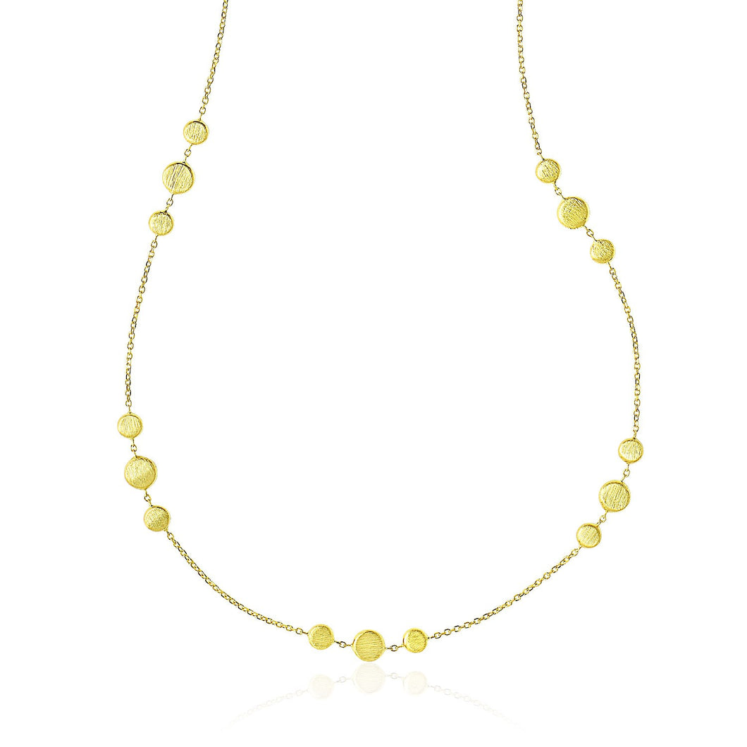 14k Yellow Gold Chain Necklace with Round 3-Cluster Satin Stations