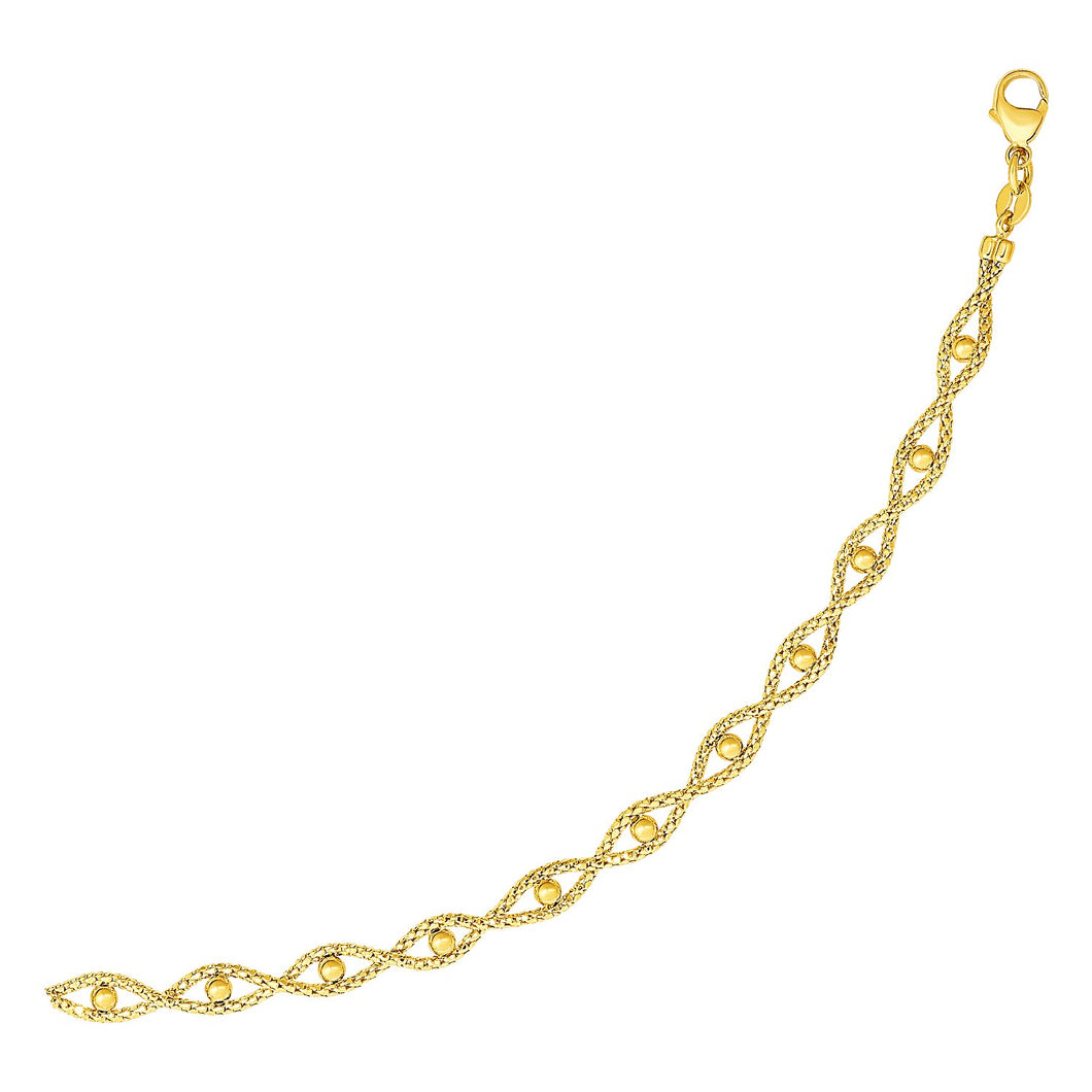 Braided Chain Bracelet with Polished Bead Accents in 14k Yellow Gold