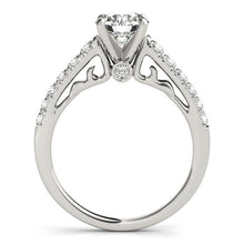 Load image into Gallery viewer, 14k White Gold Scalloped Single Row Band Diamond Engagement Ring (1 3/8 cttw)