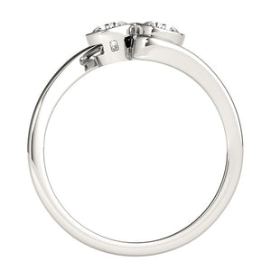 14k White Gold Bezel Set Curved Band Two Stone Diamond Ring (1/2 cttw)