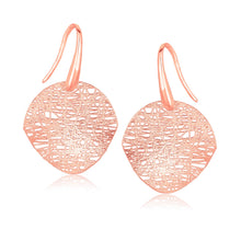 Load image into Gallery viewer, 14k Rose Gold Fancy Textured Weave Earrings