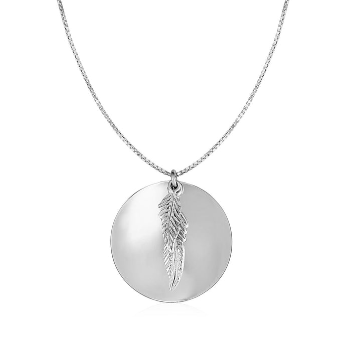 Two Part Disc and Leaf Pendant in Sterling Silver