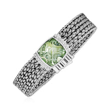 Load image into Gallery viewer, Wide Woven Bracelet with Green Amethyst and White Sapphires in Sterling Silver