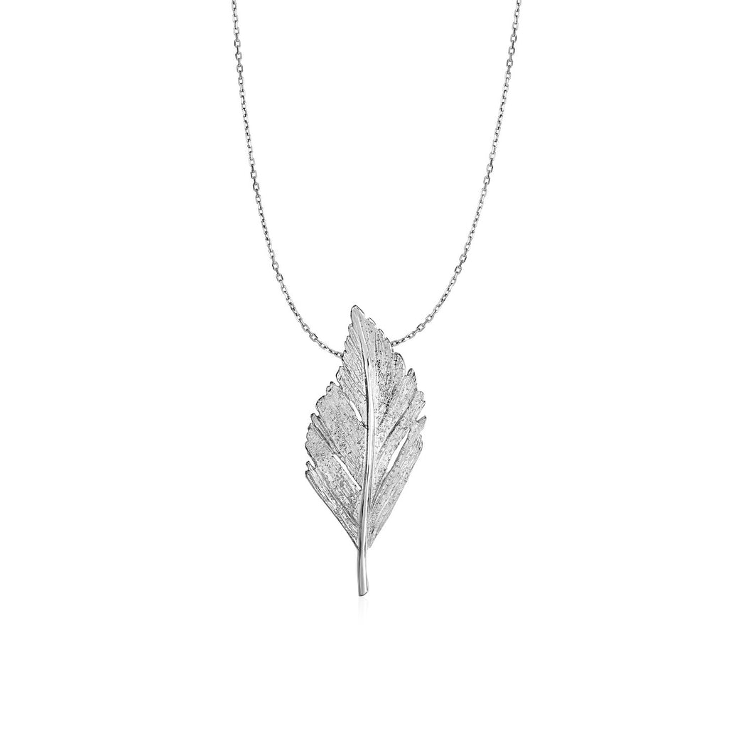Pendant with Textured Leaf in Sterling Silver