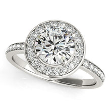 Load image into Gallery viewer, 14k White Gold Round Halo Diamond Engagement Ring (1 1/2 cttw)