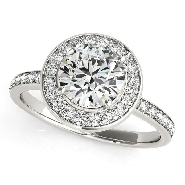14k White Gold Round Halo Diamond Engagement Ring (1 1/2 cttw)