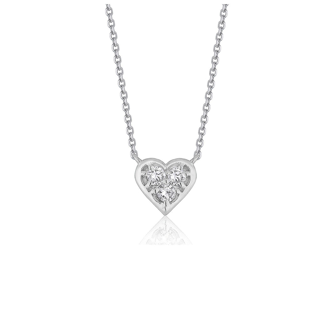 Diamond Heart Design Pendant in 14k White Gold