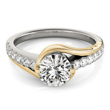 Load image into Gallery viewer, 14k Two Tone Gold Split Shank Style Diamond Engagement Ring (1 1/4 cttw)
