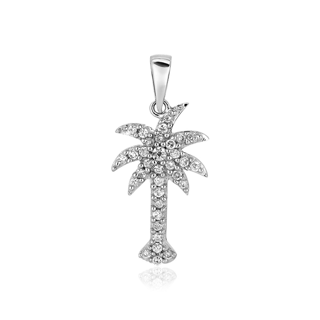 Sterling Silver Petite Palm Tree Pendant with Cubic Zirconias