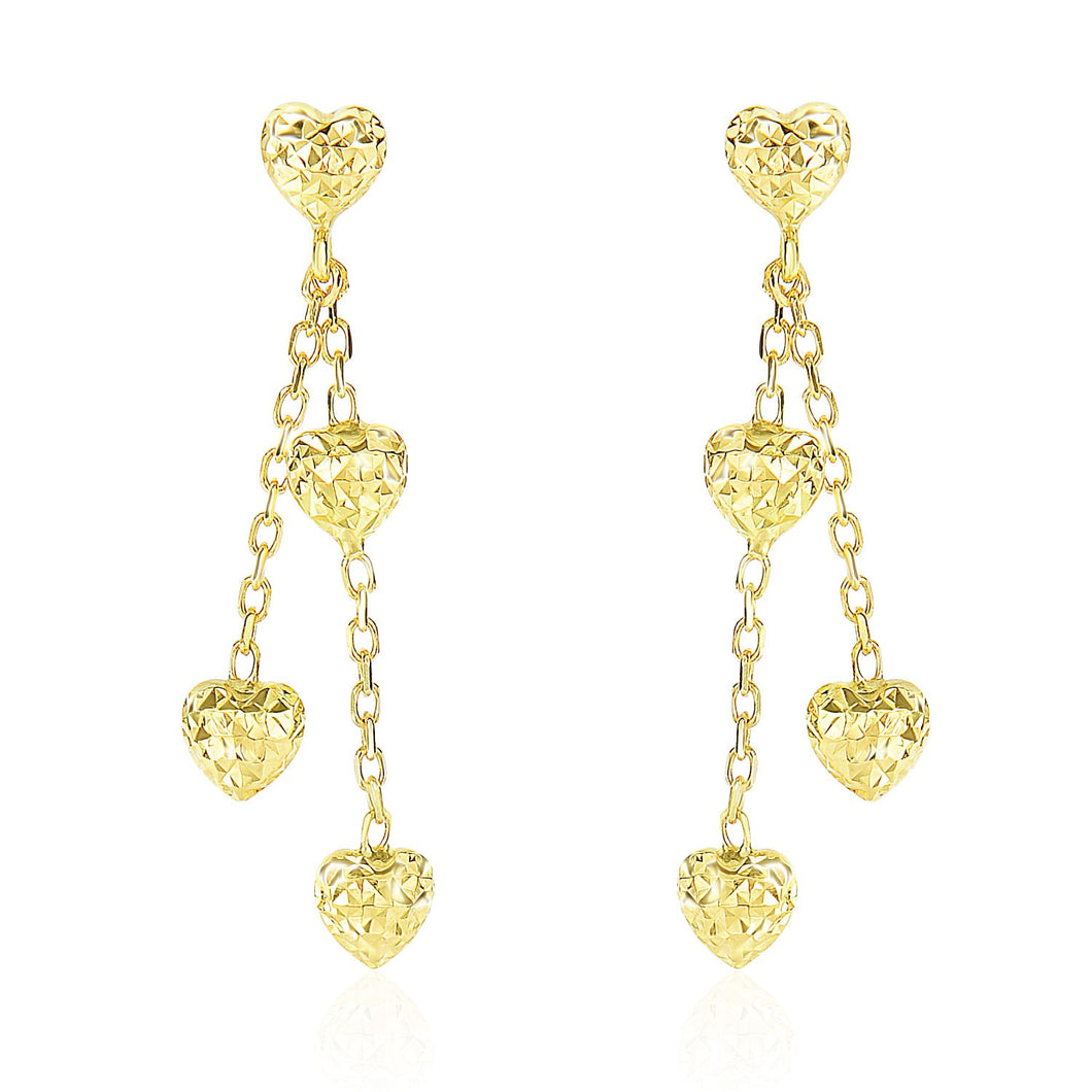 14k Yellow Gold Puffed Heart Diamond Cut Chain Dangling Earrings