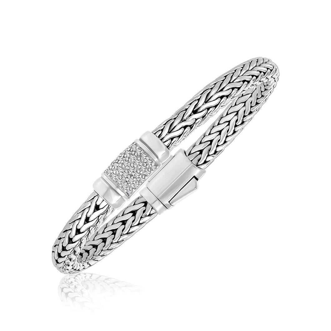 Sterling Silver Weave Motif Bracelet with White Sapphire Accents