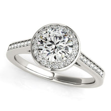 Load image into Gallery viewer, 14k White Gold Halo Round Diamond Engagement Ring (1 1/4 cttw)