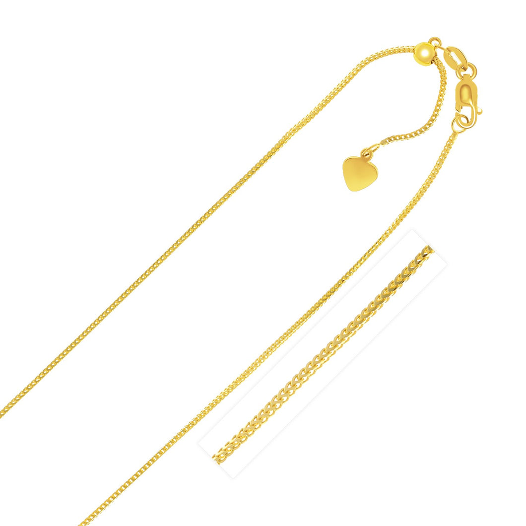 14k Yellow Gold Adjustable Franco Chain 0.9mm