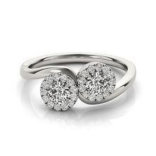 Load image into Gallery viewer, 14k White Gold Halo Set Round Two Stone Diamond Ring (3/8 cttw)