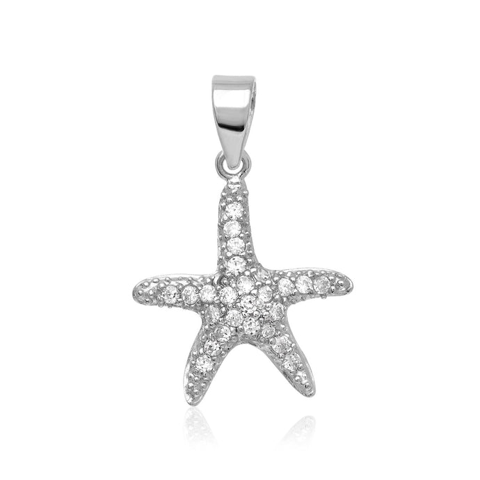 Sterling Silver Petite Starfish Pendant with Cubic Zirconias