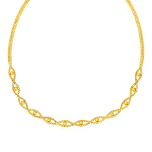 Braided Chain Necklace with Polished Bead Accents in 14k Yellow Gold