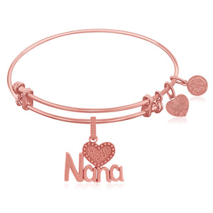 Expandable Pink Tone Brass Bangle with Nana and Heart Symbol