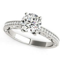 Load image into Gallery viewer, 14k White Gold Antique Pronged Round Diamond Engagement Ring (1 1/8 cttw)