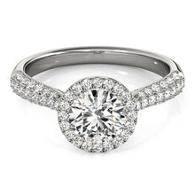 Load image into Gallery viewer, 14k White Gold Halo Diamond Engagement Ring with Pave Band (1 1/3 cttw)