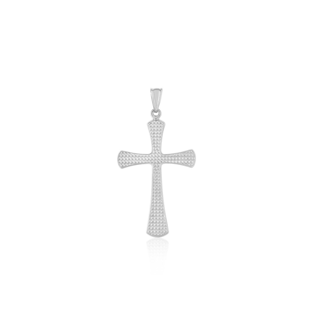 14k White Gold Cross Pendant with Beaded Texture