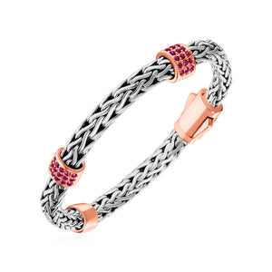 Woven Bracelet with Rose Finish Accents and Pink Sapphires in Sterling Silver