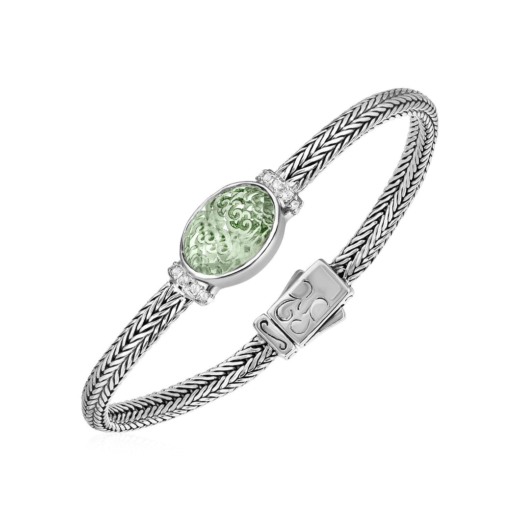 Woven Rope Bracelet with Green Amethyst and White Sapphires in Sterling Silver