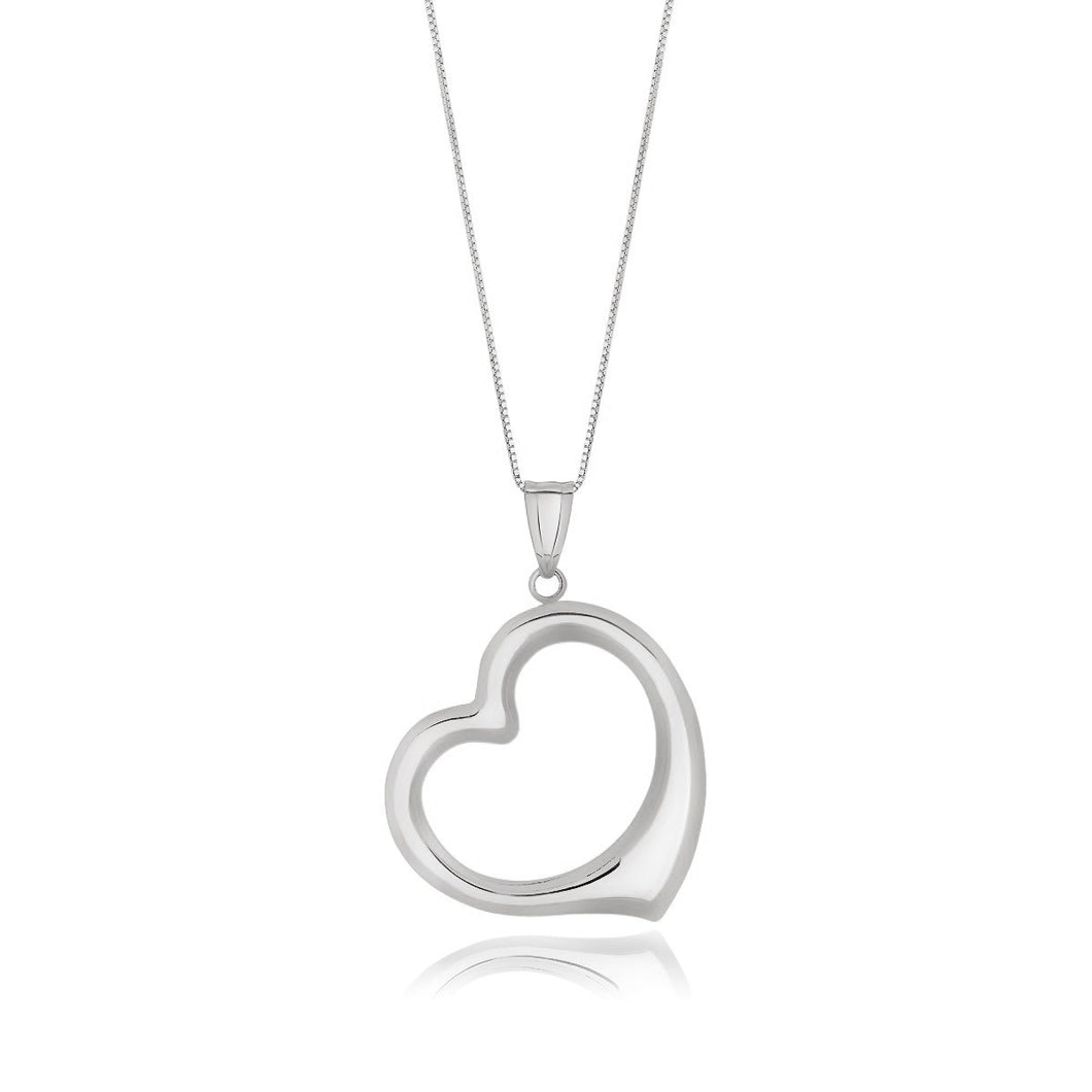 14k White Gold Floating Heart Drop Pendant