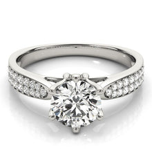 Load image into Gallery viewer, Six Prong 14k White Gold Diamond Engagement Ring with Pave Band (1 5/8 cttw)