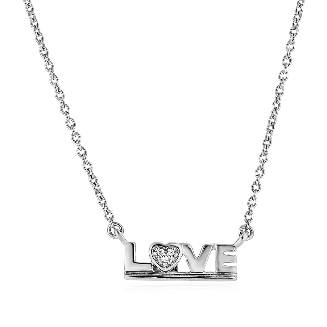 Sterling Silver inchesLove inches Pendant with Diamond