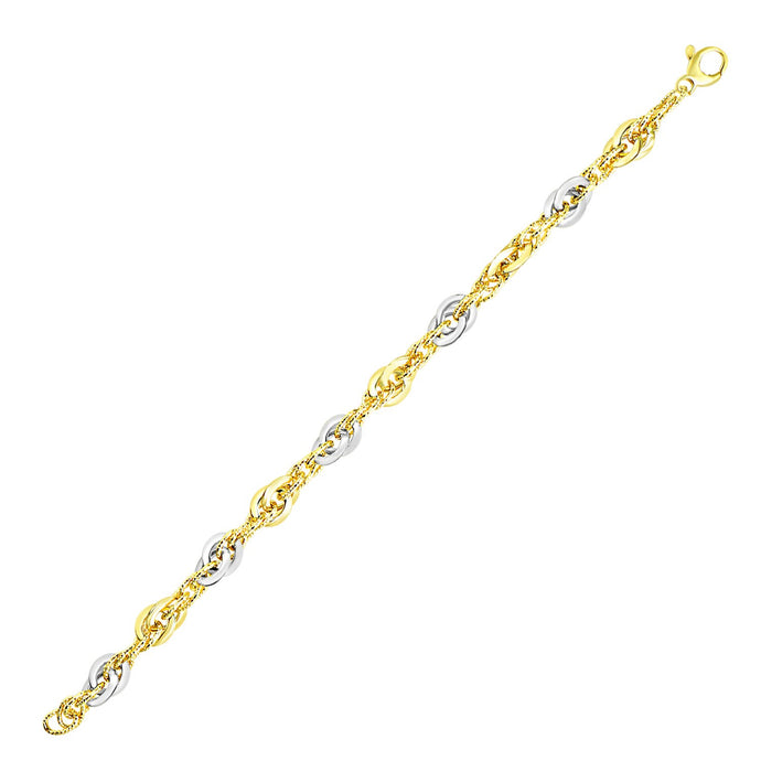 14k Two-Tone Gold Interlaced Smooth and Textured Link Bracelet