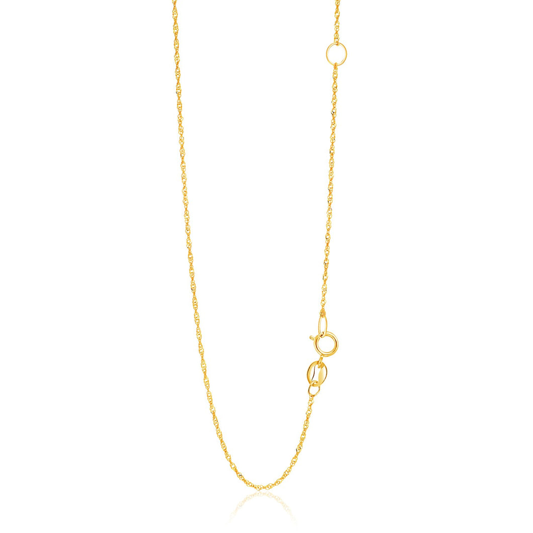 14k Yellow Gold Adjustable Singapore Chain 1.1mm