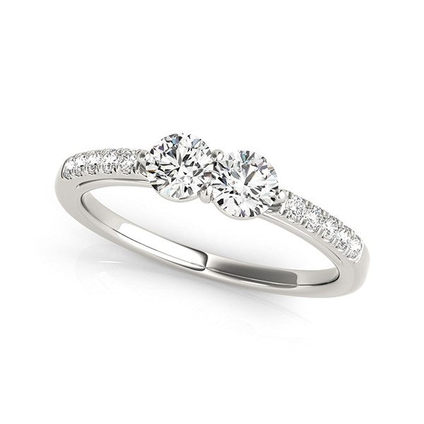14k White Gold Two Stone Round Diamond Ring (5/8 cttw)