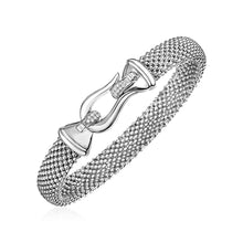 Load image into Gallery viewer, Popcorn Texture Bracelet with Hook Clasp and Diamonds in Sterling Silver