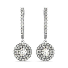 Load image into Gallery viewer, 14k White Gold Double Halo Round Diamond Drop Earrings (1 cttw)